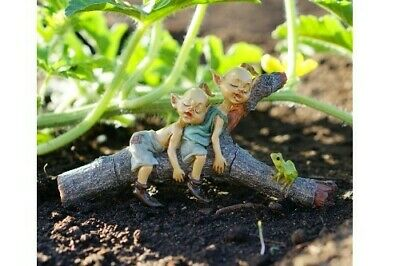 My Fairy Gardens Miniature - Twin Pixies Napping on Tree Log - Supplies Acces...