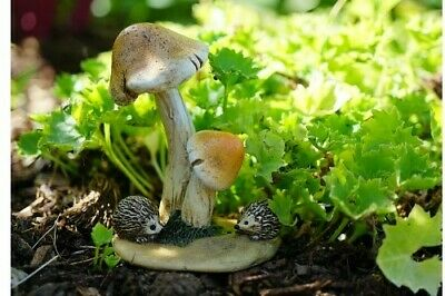 Miniature Dollhouse FAIRY GARDEN - Hedgehogs with Mushrooms - Accessories
