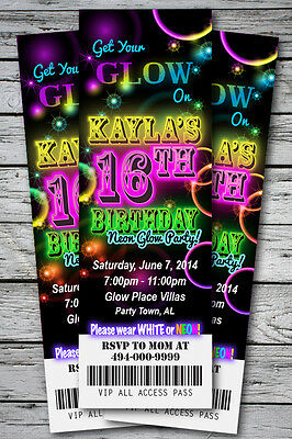 Sweet 16 GLOW in the Dark Theme NEON DISCO Birthday Party Invitation TICKET Stub