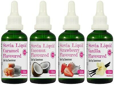 Stevia Liquid Drops 50ml Glass 4 Flavour Available Sweetener Diabetic Sugar Free