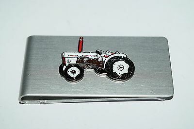 David Brown Tractor Money Clip-Brushed Chrome & Enamel Farming Inc Gift POUCH