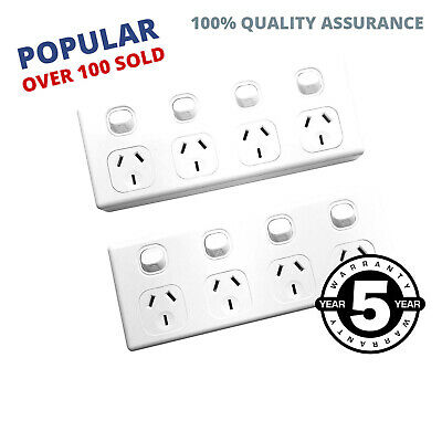 2 pieces 10 Amp Quad Power Point 4 Gang Socket Electrical Supplies 10A SAA GPO