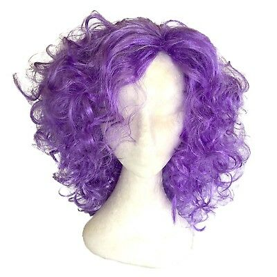 Purple Dame Edna Wig Curls Curly Womens Costume Fancy Dress Fairy Godmother