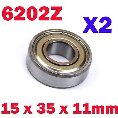 "2x 1.4"" Outer 15mm x 35mm x 11mm 6202Z Shielded Deep Groove Radial Ball Bearing"