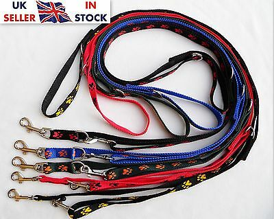 """Strong Police Style Long Dog Training Lead Leash Adjustable """"Paws"""" Pattern"""