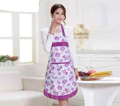 Womens Housewife Kitchen Aprons Convenient Floral Cook Restaurant Chef Hot Sale