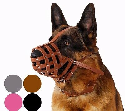 German Shepherd Dog Muzzle Secure Leather Basket Medium Large Breeds