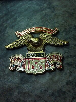 Vintage Harley Davidson Sissy Bar Brass & Enamel Emblem USA Eagle- Ready To Use
