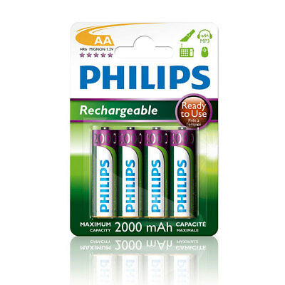 4 x Philips MultiLife 2000 mAh NiMH R6NM Rechargeable AA Batteries *SALE*