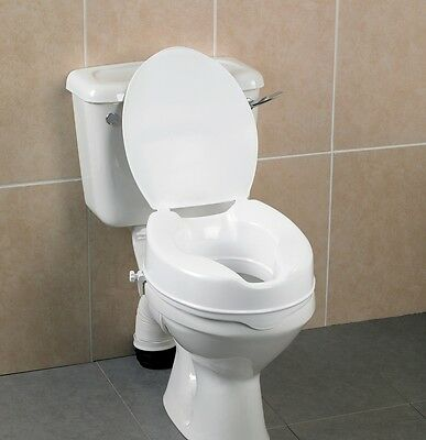 "Raised Toilet Seat with Lid Toileting Aid 2"" 4"" 6"" Elevated Heights - Vat Exempt"