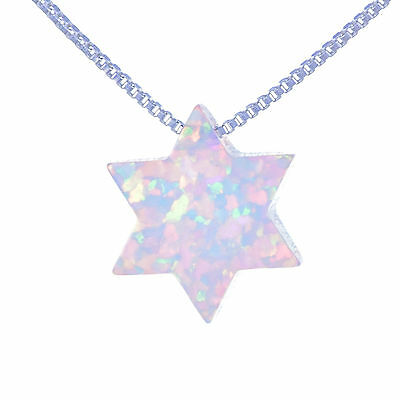 Star of David Judaica pendant, Necklace of shiny Opal stone Jewish Magen David