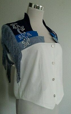 Vtg 1849 Authentic Ranchwear White Blue COWGIRL Vest Western Rodeo Fringe M