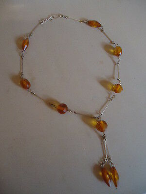 """ART DECO SILVER GILT? & AMBER BEADS 44cm 17"""" VINTAGE NEGLIGEE NECKLACE STUNNING"""