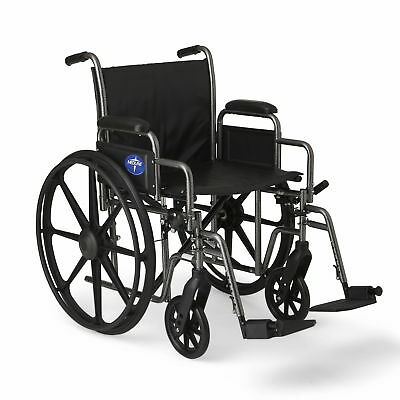 """Medline K2 Basic Wheelchair with 20""""x16"""" Seat, Swing Away Footrests- MDS806400EV"""