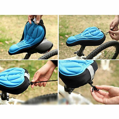 Bicycle 3D Silicone Gel Pad Seat Saddle Cover Mountain Bike Cycling Soft Cushion