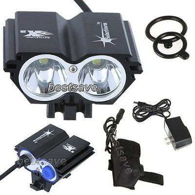 SolarStorm 2x Bulb XML U2 LED Bike Bicycle HeadLamp Light +4x 18650 +CH T6 B0193