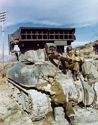"""COLOR WW2 Photo WWII US Army M4 Sherman """"Calliope"""" Rocket Tank France 44 / 3072"""