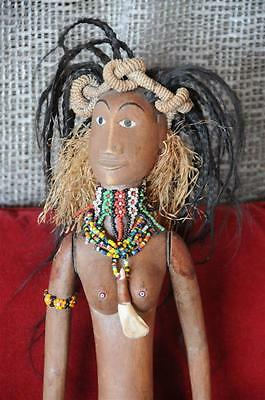 Old African Hand Carved Female Wooden Doll with Real Hair & Beaded Costume...