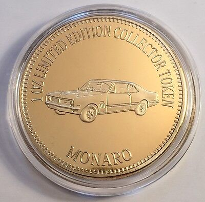 """HOLDEN MONARO"" Muscle Car Series 1 0z HGE 999 24k Gold Coin/token LTD 2,500"