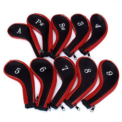 10 Golf Clubs Iron Set Headcovers Head Cover Red/Black BF
