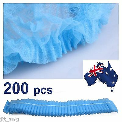200 Disposable Non-woven Elastic Pleated Bouffant Mob Bar Cap Hair Net(OZ stock)