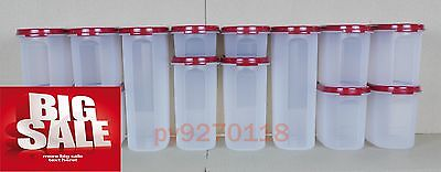 Tupperware Modular Mates Oval Cranberry Combo Pantry Set of 14 + Free Express