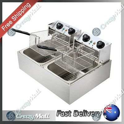 Steel Benchtop Electric Deep Fryer with Double Oil Basket for Commercial Home