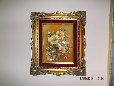 Plastic Floral Wall Plaque in Gold Frame