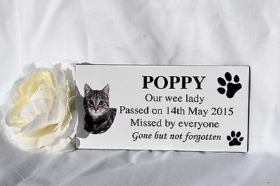 Personalised Pet memorial photo grave plaque sign dog, cat, animal