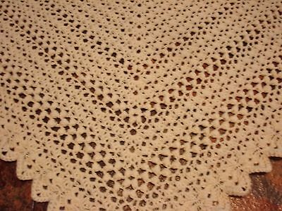Shawl Cotton Lacy ARAN Handcrafted Vintage