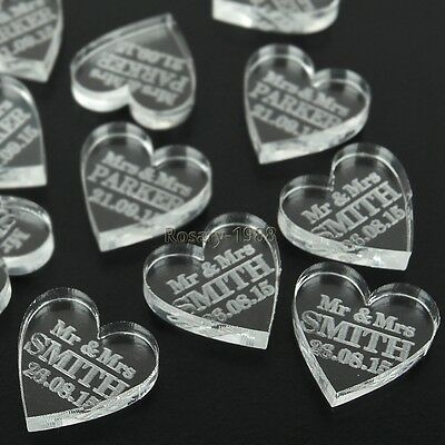 40*Personalized Clear Love Heart Wedding Table Centerpieces Mr & Mrs Decor Favor