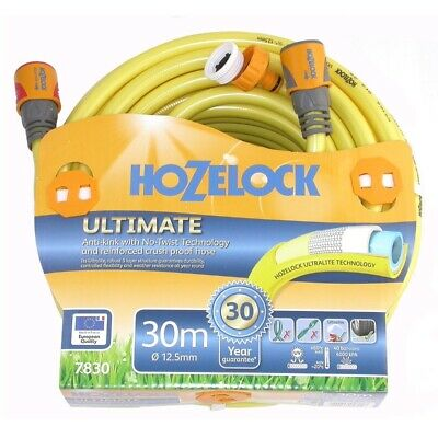Hozelock Ultimate Knitted YELLOW Garden Hose 12.5mm x 30m with fittings-7830