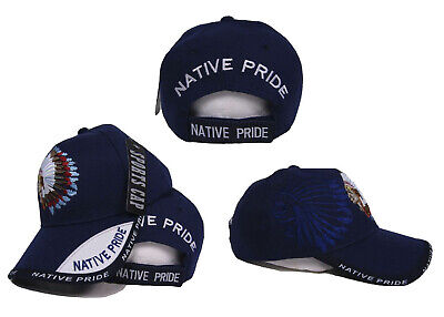 a3cb37b28 NATIVE AMERICAN PRIDE Indian Blue Shadow Baseball Style Ball Cap Hat (RAM)