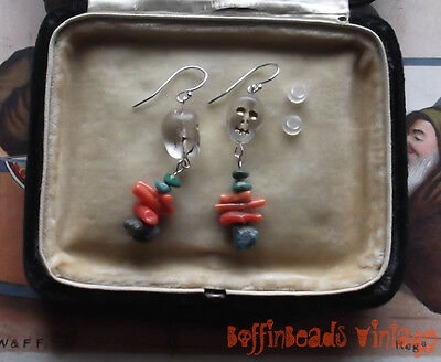 BABY SKULLS Halloween EARRINGS! Real turquoise + orange coral twigs .925