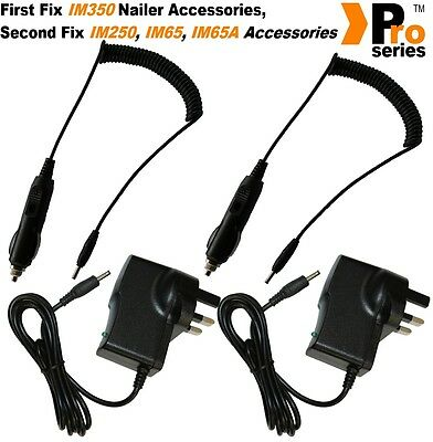 2 xProSeries Wall Charger,2 x Pro Series In Car Charger,For Paslode Charger Base