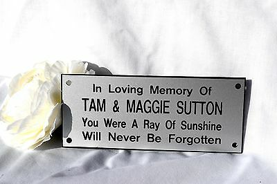 Personalised Engraved memorial Bench plaque sign