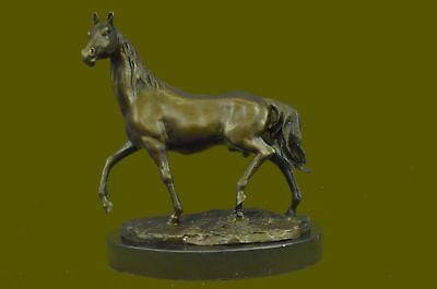 Beautiful Vintage Bronze Horse Bust On Marble Base Sculpture Statue Figurine Art