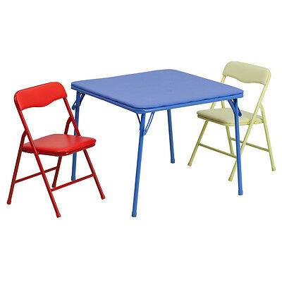 Kids Colorful 3 Pieces Folding Table and Two Chairs set - Kid's Dining Table
