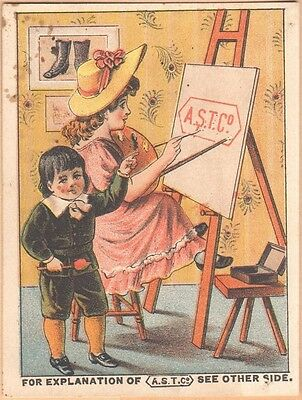 Victorian Trade Card-American Shoe Tip Co-Courtright-Scranton, PA-Girl Painting