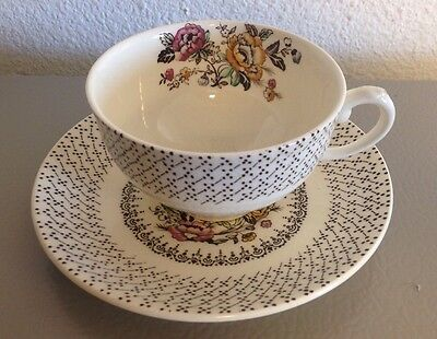 Myott Son & Co Hanley Est 1880 Tea Cup Saucer Swing Time Floral Pattern ENGLAND
