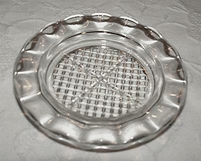 VINTAGE 1950's JEANETTE GLASS HOMESPUN CLEAR DEPRESSION GLASS COASTER/ASH TRAY