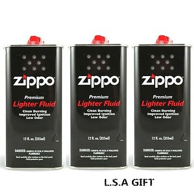 Zippo 12 fl.oz (355ml) Fluid Fuel 3 Can Value Pack Combo Set NEW