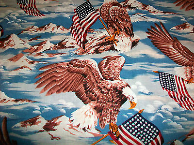 Soaring Eagles And American Flags Cotton Quilt Fabric