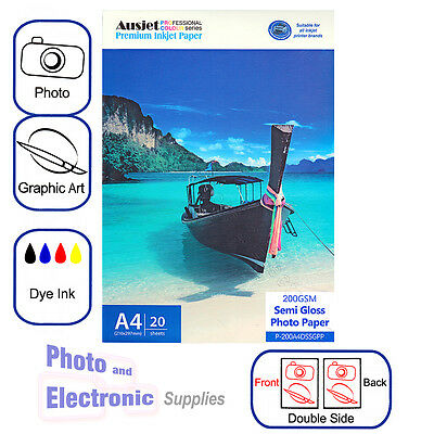 A4 Semi Gloss DS (double sided) Photo Paper for Dye Inkjet 200gsm (20 Sheets)