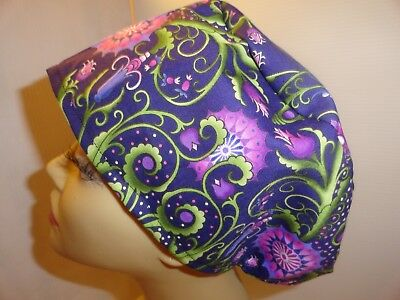 WOMENS SURGICAL_SCRUB HAT_Purple_green_flowers_leaves_cotton_OOP