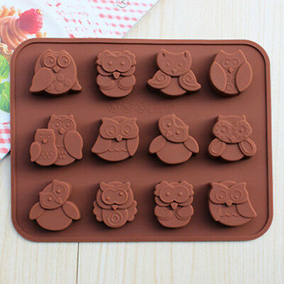 Silicone Baking DIY 12-Owl Cake Decorating Mould Candy Cookies Chocolate Mold