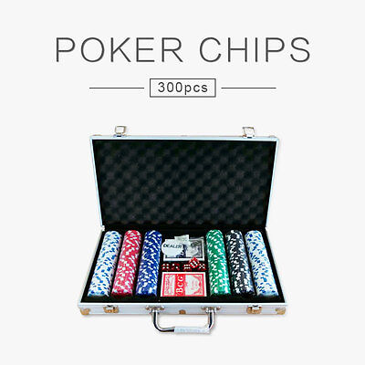300 Chips Poker Game Set Casino Size Chip Holographic Gambling Aluminium Case AU
