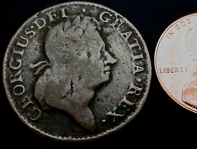 N010: 1723 Irish American Woods Copper Halfpenny - circulated early America