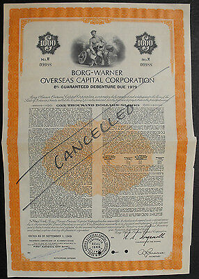 USA Amerika  Borg-Warner Overseas Capital Corporation bond 1000 Dollar 1969