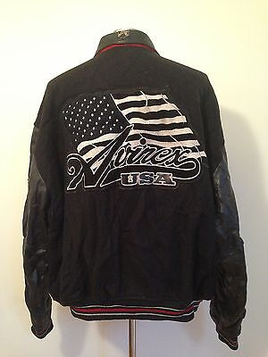 VINTAGE 1990's AVIREX WOOL AND LEATHER VARSITY JACKET MEN'S 5XL